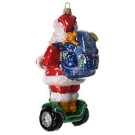 Babbo Natale su Segway addobbo vetro soffiato Albero Natale s4