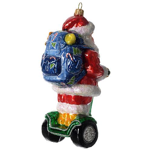 Babbo Natale su Segway addobbo vetro soffiato Albero Natale 3