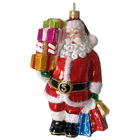 Santa Claus with gifts, Christmas tree decoration in blown glass s1