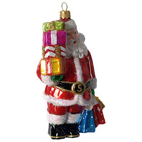Santa Claus with gifts, Christmas tree decoration in blown glass s2
