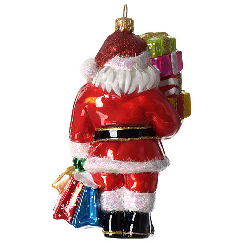 Santa Claus with gifts, Christmas tree decoration in blown glass 3
