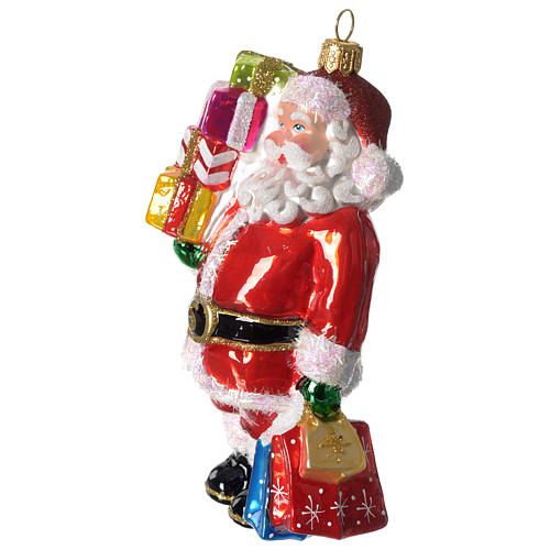 Santa Claus with gifts, Christmas tree decoration in blown glass 4
