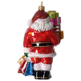 Babbo Natale e regali addobbo vetro soffiato Albero Natale s3