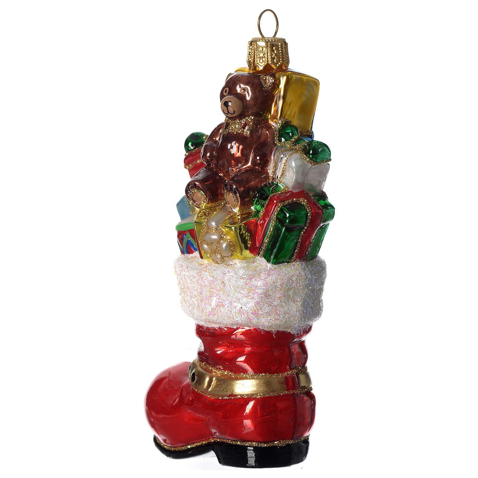 Bota de Papá Noel adorno vidrio soplado Árbol Navidad 4