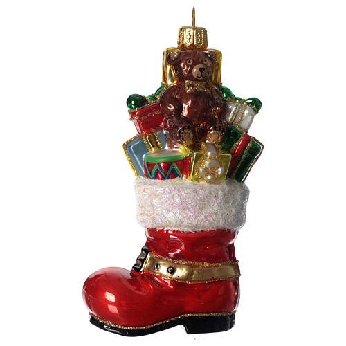 Bota de Papá Noel adorno vidrio soplado Árbol Navidad 1