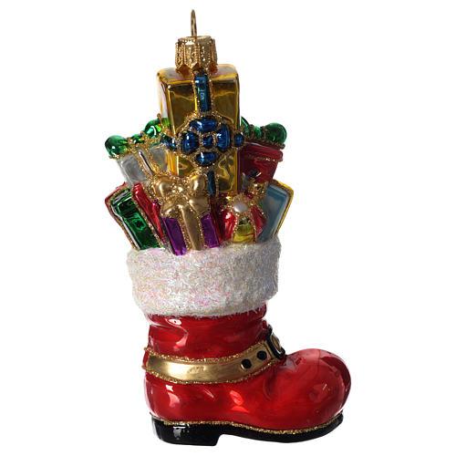 Bota de Papá Noel adorno vidrio soplado Árbol Navidad 2
