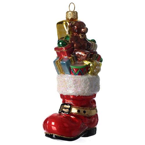 Bota de Papá Noel adorno vidrio soplado Árbol Navidad 3