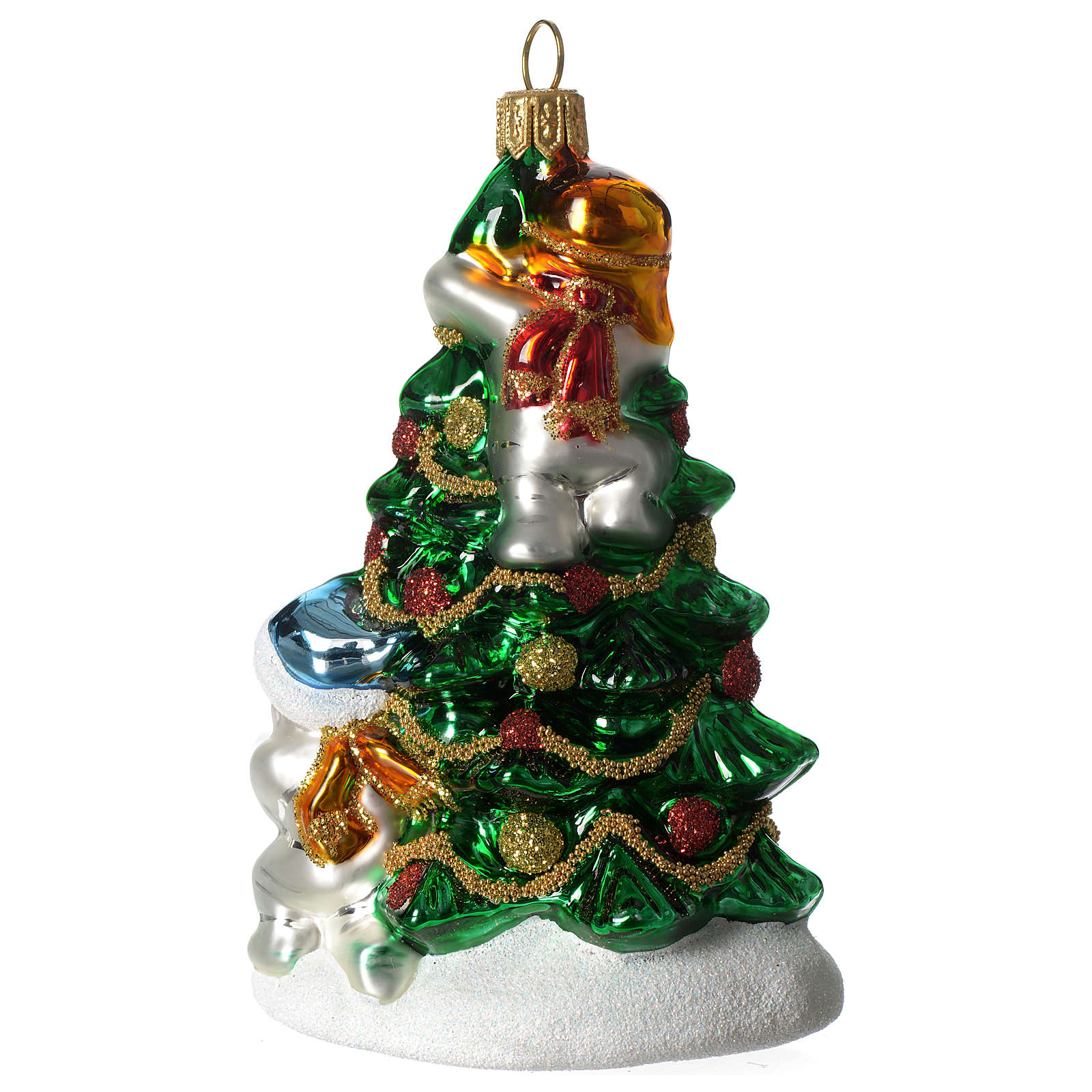 Árbol Navidad y Muñeco Nieve adorno vidrio soplado Árbol Navidad 4