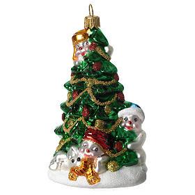 Árbol Navidad y Muñeco Nieve adorno vidrio soplado Árbol Navidad s1