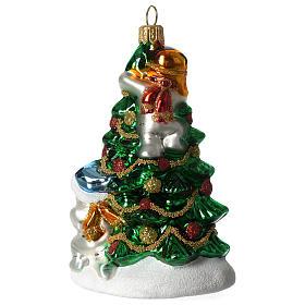 Árbol Navidad y Muñeco Nieve adorno vidrio soplado Árbol Navidad s2
