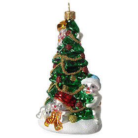 Árbol Navidad y Muñeco Nieve adorno vidrio soplado Árbol Navidad s3