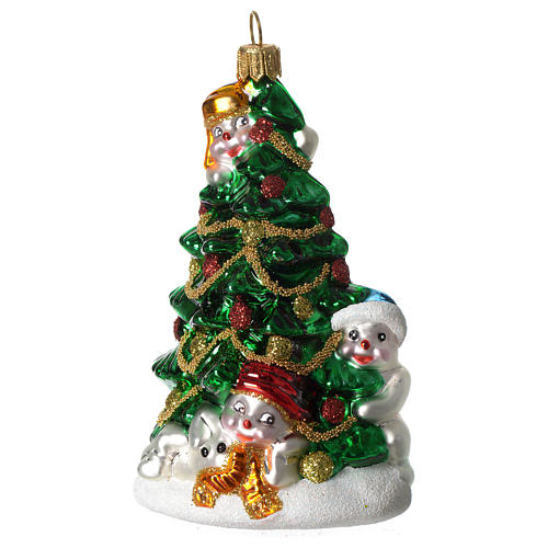 Christmas tree with Snowmen blown glass Christmas tree ornament 1 - Christmas Tree With Snowmen Blown Glass Christmas Tree Online
