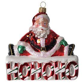 HOHOHO Babbo Natale addobbo vetro soffiato Albero Natale s1