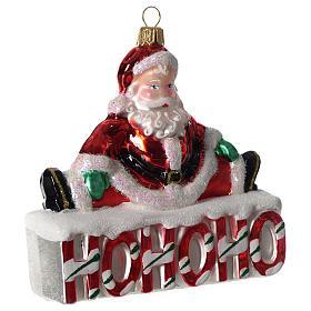 HOHOHO Babbo Natale addobbo vetro soffiato Albero Natale s2