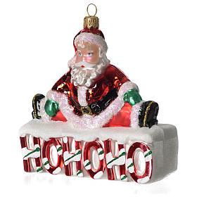 HOHOHO Babbo Natale addobbo vetro soffiato Albero Natale s3