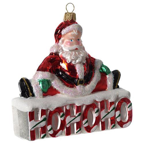 HOHOHO Babbo Natale addobbo vetro soffiato Albero Natale 2