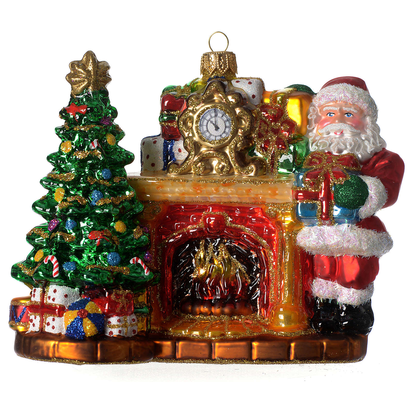 Santa Claus and fireplace, Christmas tree decoration in blown glass 4