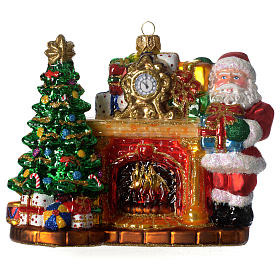 Blown glass ornaments: Santa Claus and fireplace, Christmas tree decoration in blown glass