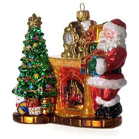 Santa Claus chimenea Árbol adorno vidrio soplado Árbol Navidad s2