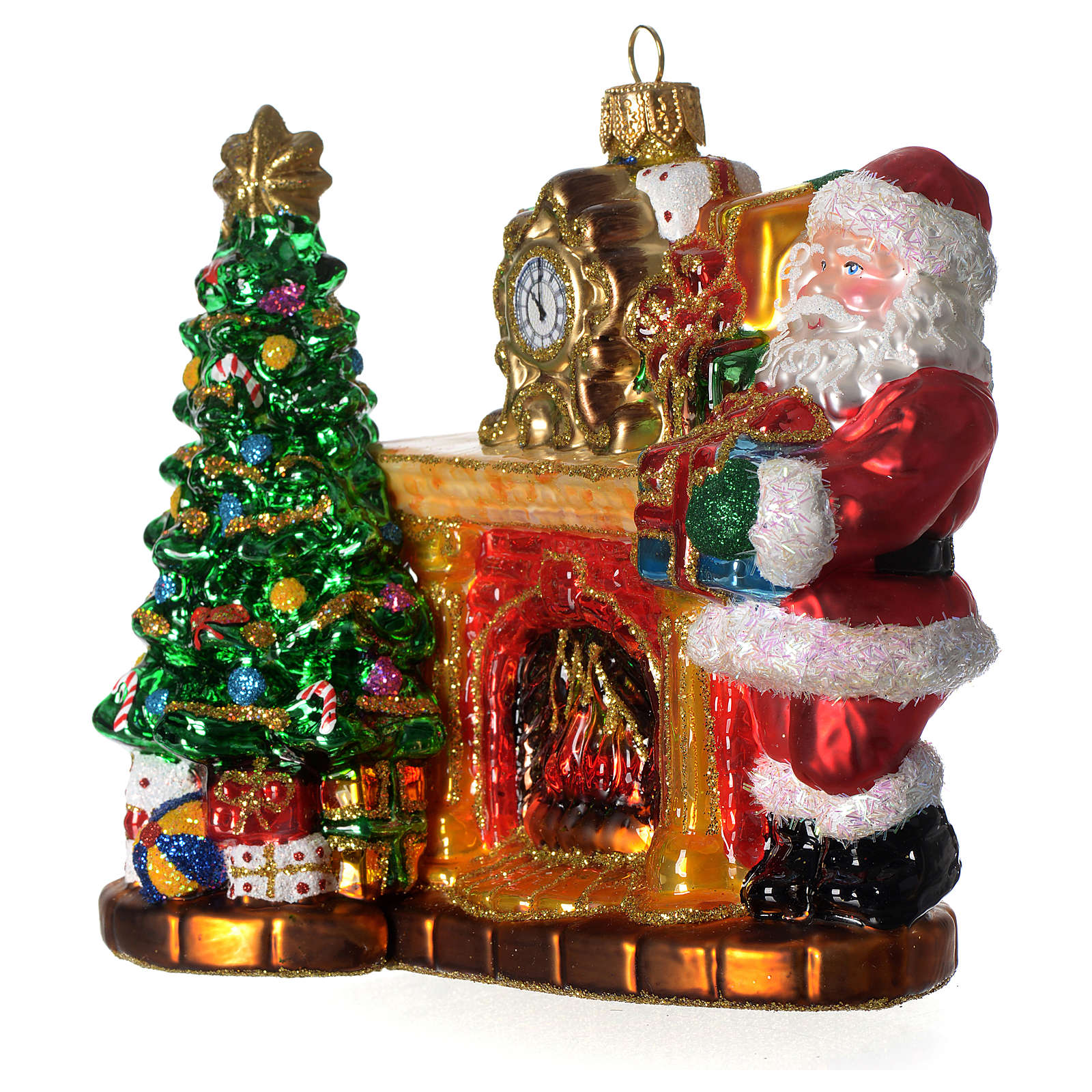 Santa Claus with Fireplace blown glass Christmas tree decoration 4