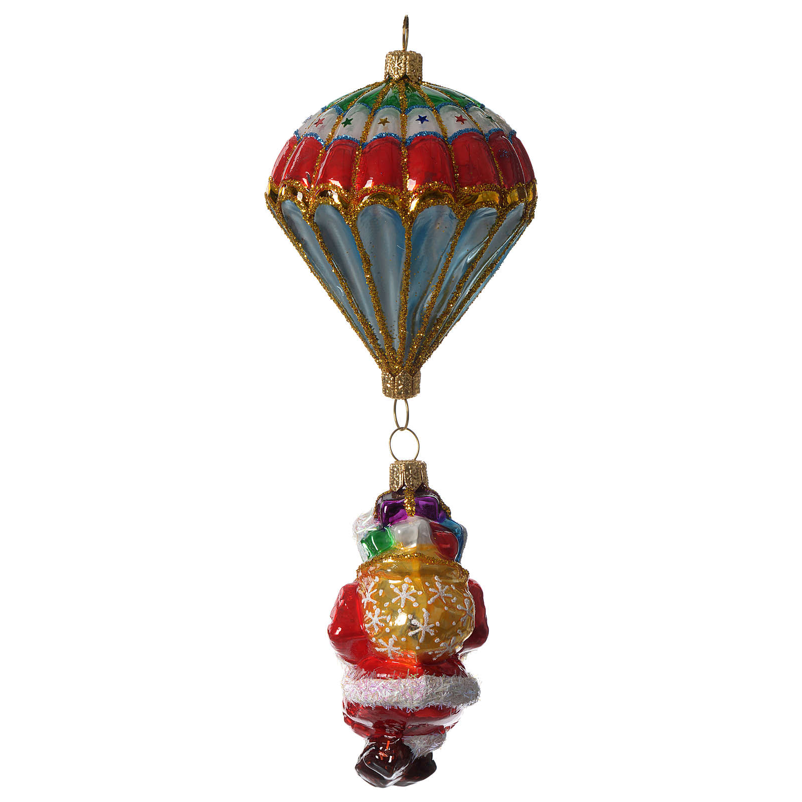 Parachuting Santa, Christmas tree decoration in blown glass 4