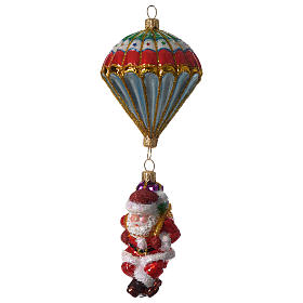 Blown glass ornaments: Parachuting Santa, Christmas tree decoration in blown glass