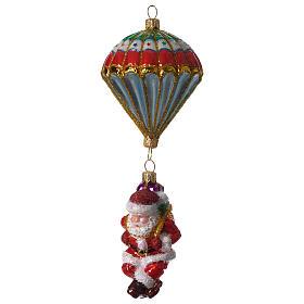 Parachuting Santa, Christmas tree decoration in blown glass s1