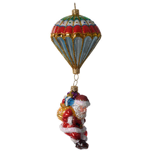 Parachuting Santa, Christmas tree decoration in blown glass 3