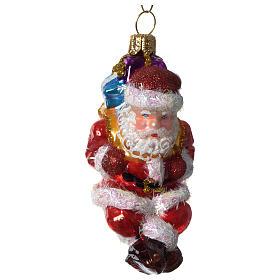 Père Noël avec parachute décoration verre soufflé Sapin Noël s2