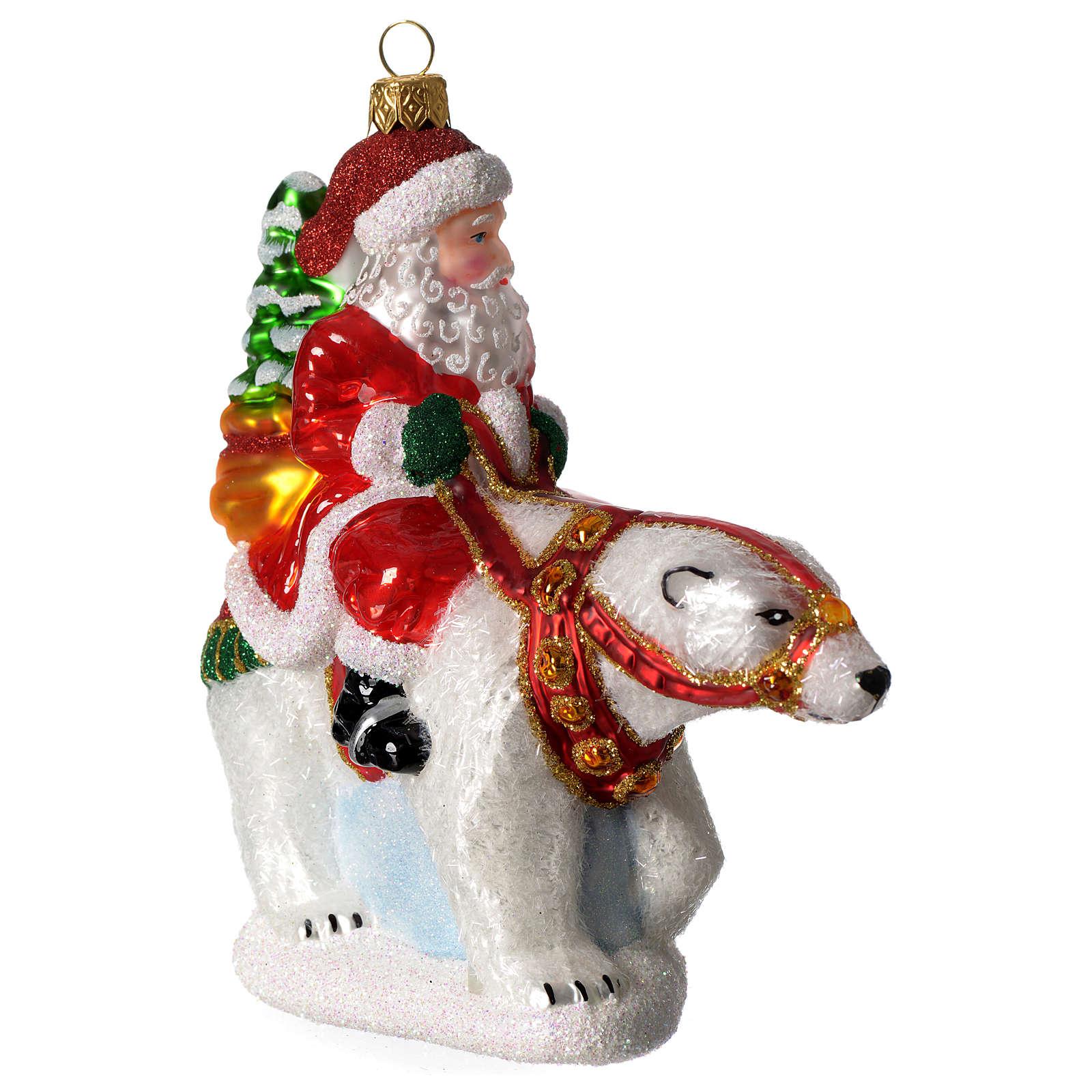 Babbo natale con Orso Polare addobbo vetro soffiato Albero Natale 4