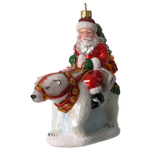 Babbo natale con Orso Polare addobbo vetro soffiato Albero Natale 2