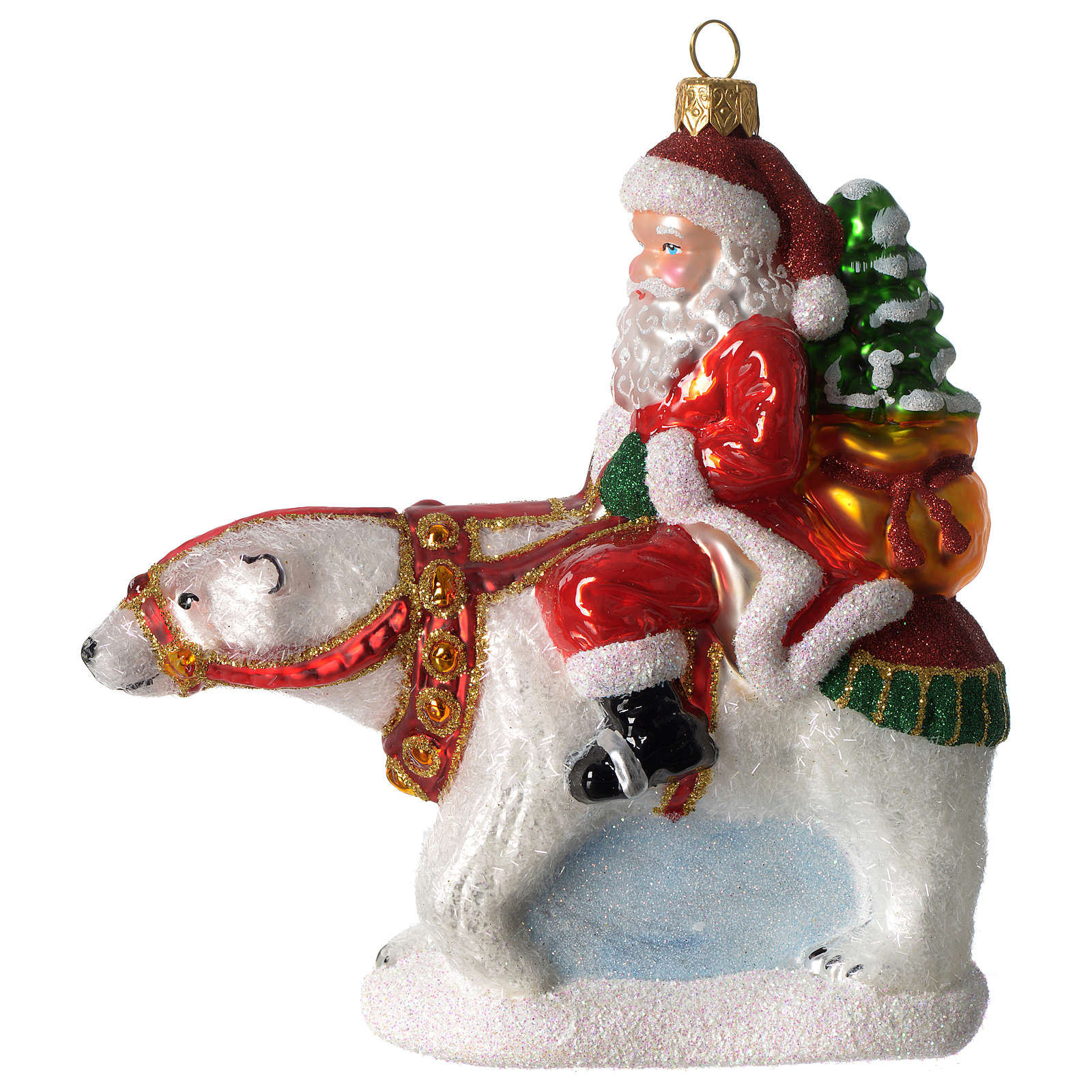 Santa Claus with Polar Bear blown glass Christmas ornament ...