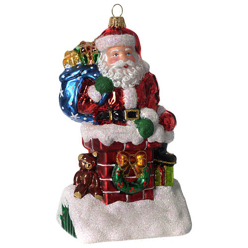 Santa Claus and chimney, Christmas tree decoration in blown glass 1