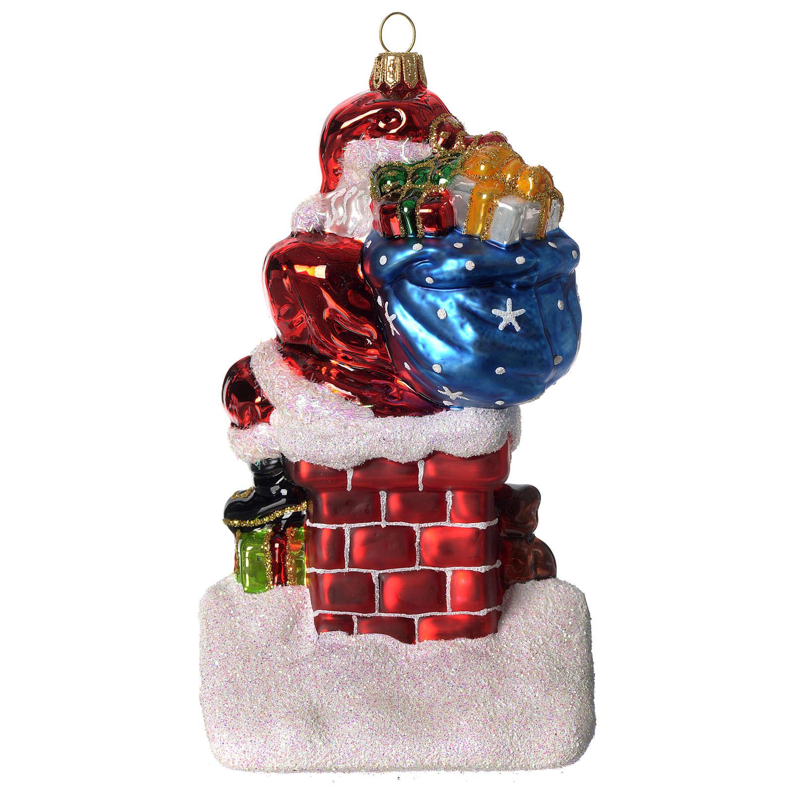 Père Noël et cheminée ornement verre soufflé Sapin Noël 4
