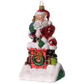 Père Noël et cheminée ornement verre soufflé Sapin Noël s2