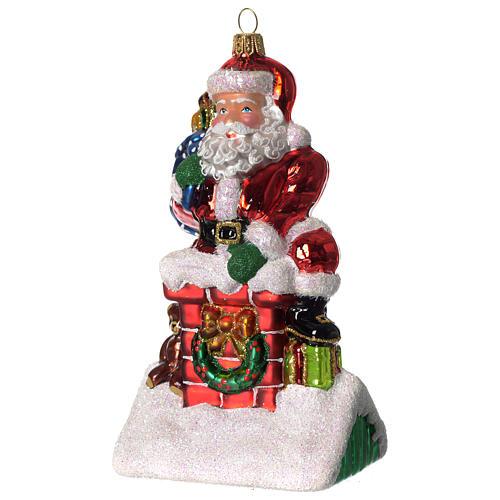 Père Noël et cheminée ornement verre soufflé Sapin Noël 2