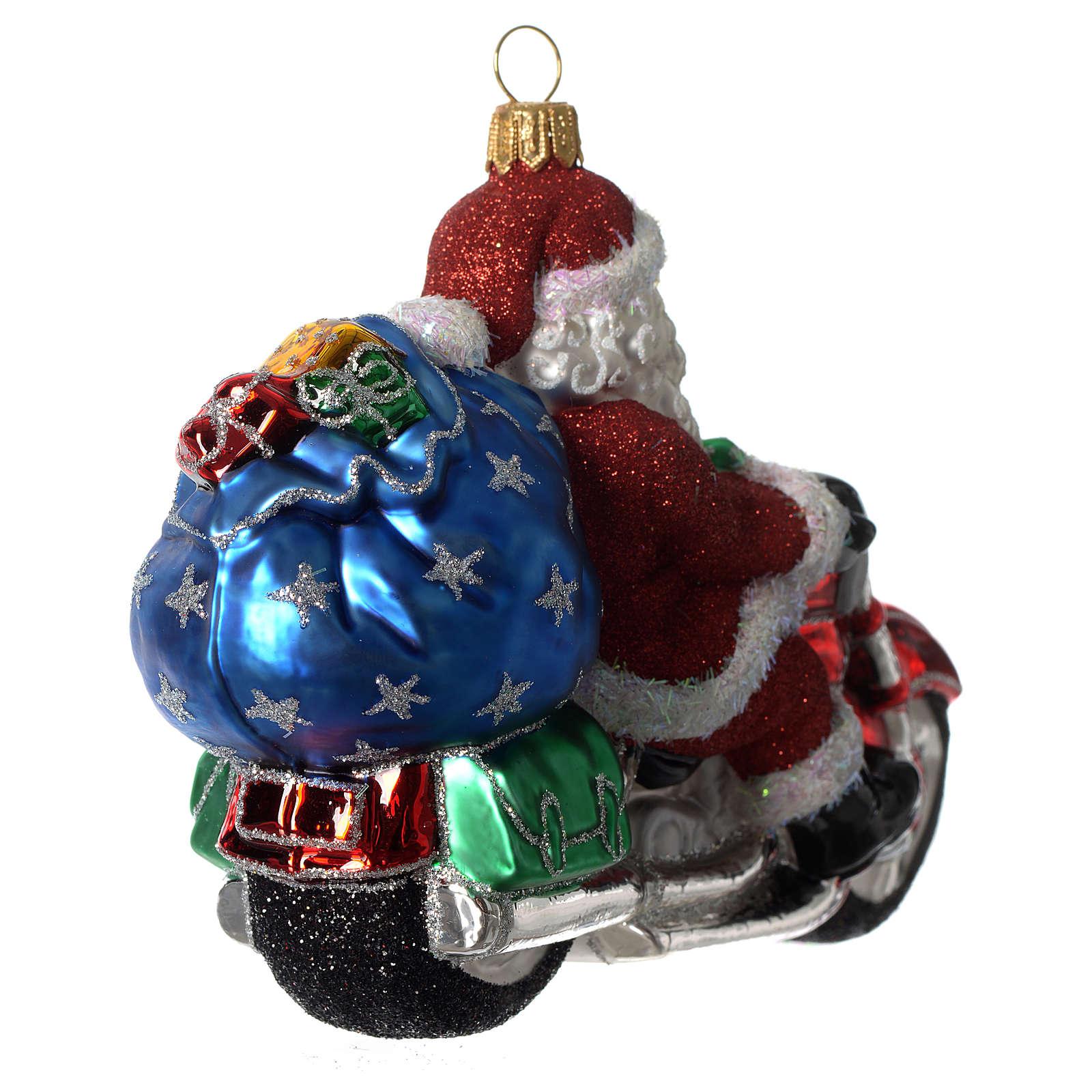 Babbo Natale su Motocicletta addobbo vetro soffiato Albero Natale 4