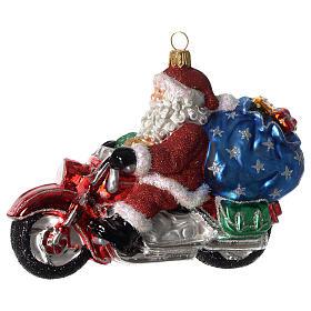 Babbo Natale su Motocicletta addobbo vetro soffiato Albero Natale s1