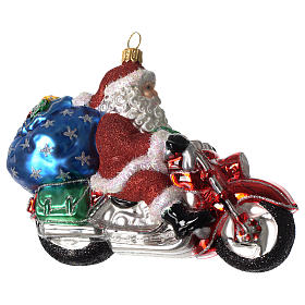 Babbo Natale su Motocicletta addobbo vetro soffiato Albero Natale s2