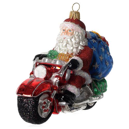 Babbo Natale su Motocicletta addobbo vetro soffiato Albero Natale 3