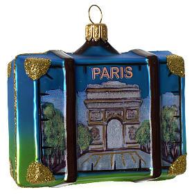 Maleta Francia adorno vidrio soplado Árbol Navidad s1