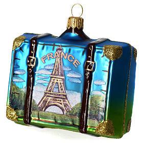 Valigia Francia addobbo vetro soffiato Albero Natale s2