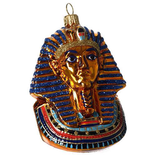 Máscara de Tutankhamon adorno vidrio soplado Árbol Navidad 1