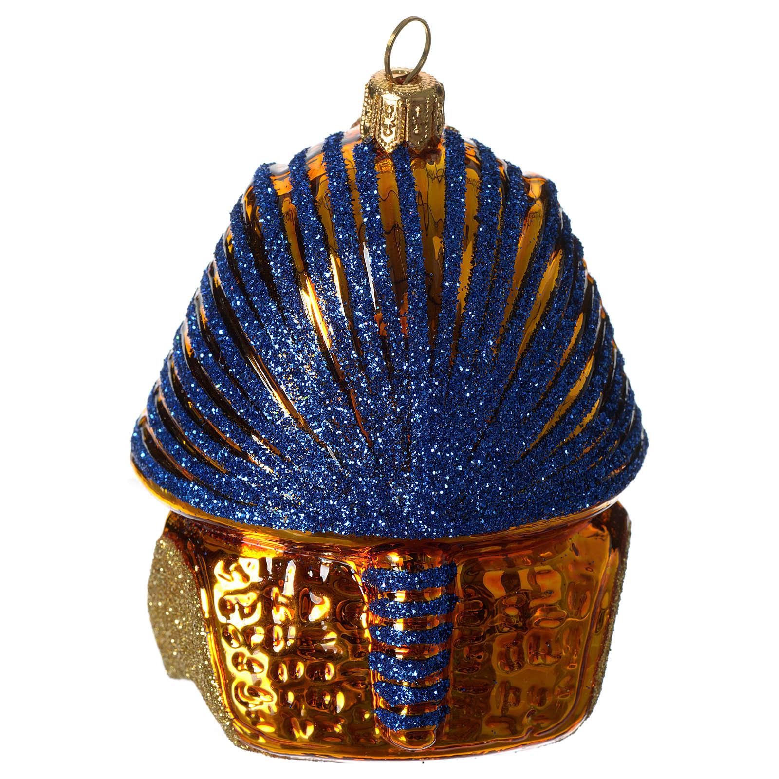 Masque de Toutânkhamon décoration verre soufflé Sapin Noël 4