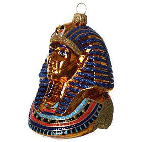 Masque de Toutânkhamon décoration verre soufflé Sapin Noël s2
