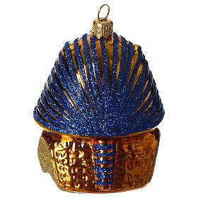 Masque de Toutânkhamon décoration verre soufflé Sapin Noël s3
