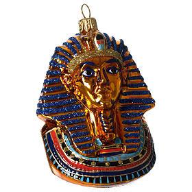 Maschera di Tutankhamon addobbo vetro soffiato Albero Natale s1