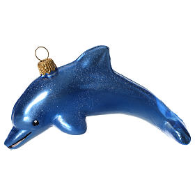 Blown Glass Dolphin Christmas ornament s1