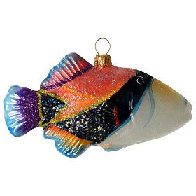 Poisson-baliste décoration verre soufflé Sapin Noël s1