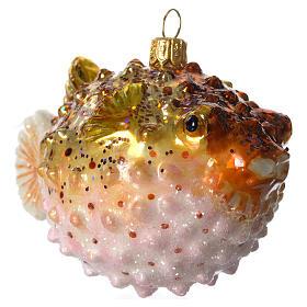 Baiacu adorno vidro soprado para árvore Natal s2
